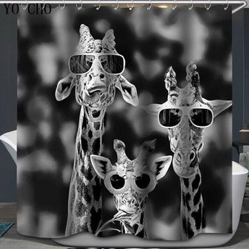 Shower Curtain giraffe bath Curtain animal penguin Fabric 3d WaterProof rabbit deer panda cartoon curtain for bathroom hooks