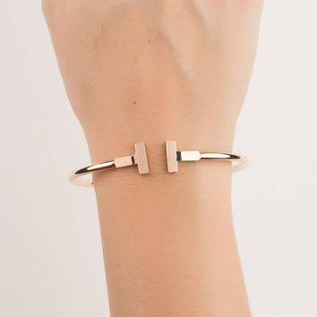 Rose Gold Bangle Bracelet • Rose Gold Cuff Bracelet • Stacking Bracelet • Bridesmaid Gift • Simple Bracelet • 0096BM