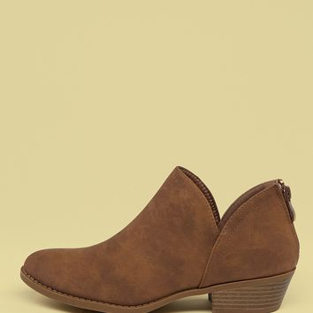 Cut Out Shaft Stacked Heel Ankle Boots