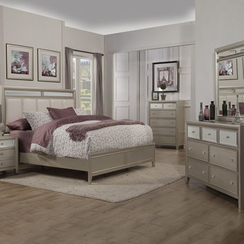 Alpine Silver Dreams California King Bed with Upholstered Headboard