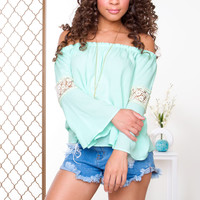 Leighton Off The Shoulder Top - Mint