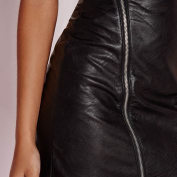 Missguided - Faux Leather Buckle Zip A Line Skirt Black