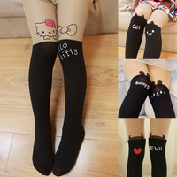 Girls Tights, Leggings, Cute hello cat Velvet stockings leg warmer