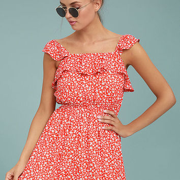 Moon River Dottie Red Floral Print Dress