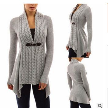 V-Neck Daily Cotton Polyester Material Women Long Sleeve Sweater Casual Knitted Cardigan Outwear Spring,Fall,Winter