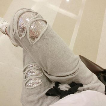 Ripped Vintage Grey Glitter Sequin Sweatpants