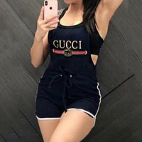GUCCI Summer Hot Sale Women Casual Shortall Overall | Urban Outfitters Black