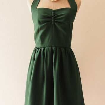 Green Dress, Forest Green Tea Dress, Green Vintage Inspired Dress, Green Bridesmaid Dress, Once Upon A Time -Size XS-XL,Custom