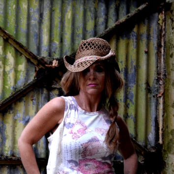 Boho tunic, gypsy cowgirl glam top, romantic crochet clothing, altered couture, Shabby pink, women's, true rebel clothing Sm