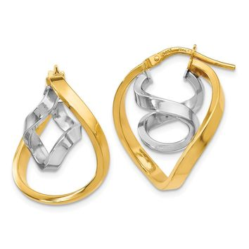 Leslies 14k Two tone Polished Fancy Hoop Earrings