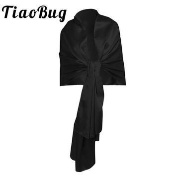 Women Ladies Black Champagne Gray Newest Bridal Satin Wrap Wedding Shrug Long Bolero for Women Evening Party Bridal Bridesmaid
