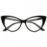 zeroUV - Super Cat Eye Glasses Vintage Inspired Mod Fashion Clear Lens Eyewear