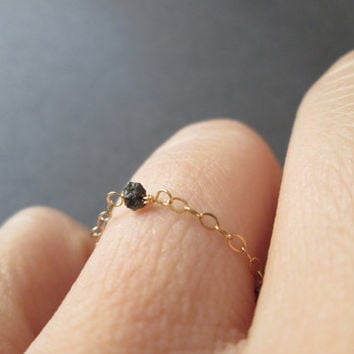 Black Diamond Solitaire Chain Ring - Sterling Silver June Birthstone Anniversary Promise Engagement Ring