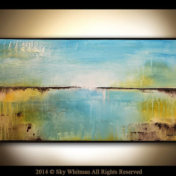 Abstract Original Large Framed Textured Seascape Abstract Blue High Gloss Oil Painting Landscape Modern Contemporary 25x49 by Sky Whitman