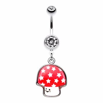 Adorable Mushroom Belly Button Ring