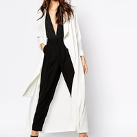 Never Fully Dressed Crepe Maxi Duster Coat With Zip Detail