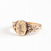 Antique 10k Gold L Signet Flower Ring - Vintage Edwardian Early 1900s Art Nouveau Floral Size 9 Letter Monogram Fine Jewelry