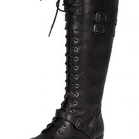 Ahoy! Soda Knee High Lace Up Military Combat Boot Black Side Cracked Leatherette