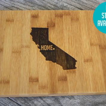 State Cutting Board - Personalized Home State or Country Cutting Board with a Heart - Perfect Wedding Gift, Engagement Gift, or Housewarming