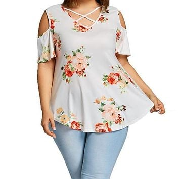 Summer Women Plus Size Floral Printed Off the Shoulder Blouse Tops Short Sleeve Casual Shirt