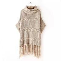 Turtleneck Sleeve Fringed Knitted Shirt