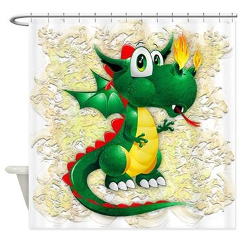 BABY DRAGON CUTE CARTOON SHOWER CURTAIN