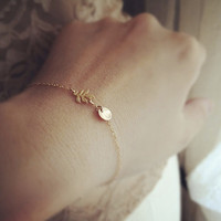 Summer Fashion Jewelry Gold Leaf and Initial Bracelet For Women Gift SH009
