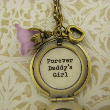 Dad to daughter Locket Necklace forever daddy's girl purple flower heart ready to ship daughter wedding dad daughter dance ships from USA