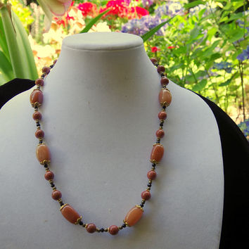 Long brown natural stone necklace Handmade semi precious jewelry Caramel aventurine sparkly goldstone Gemstone necklace OOAK unique gift