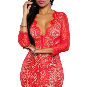 Red Lace Nude Mini Dress