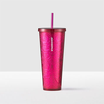 Magenta Embossed Cold Cup, 24 fl oz