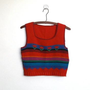 SALE Vintage 1970s Cropped Sweater Vest / Knit Top / Tulip & Stripe Pattern
