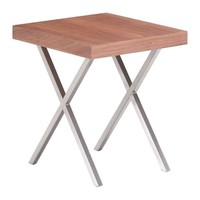 Renmen Side Table Walnut Brushed Stainless Steel