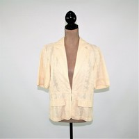 Short Sleeve Jacket Women Large Casual Beige Jacket Cotton Eyelet Jacket Size 12 Jacket Coldwater Creek Womens Clothing