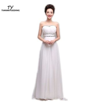 TIANMIYUEDING Bridesmaid Dresses Long Sweetheart Pleats Draped Sequins Beaded Stock Wedding Guest Dress cheap bridesmaids dress