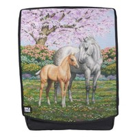 Palomino Foal and Gray Horse Backpack