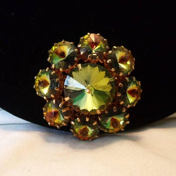 Czech Watermelon Yellow Margarita Rivoli Flower Brooch Glass Rhinestone Vintage Pin