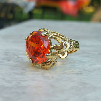 Vintage Gold Plated Sterling Silver Orange Stone Filigree Ring. S 7 - Art Deco Nouveau / Retro Boho Chic / Statement / Stunning / Vibrant