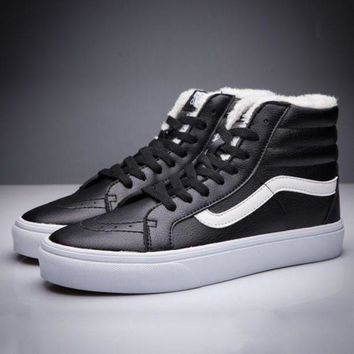 CREYONS Trendsetter Vans SK8-Hi Leather Warm Cotton Old Skool Flats Sneakers Sport Shoes