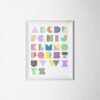 Modern Colorful Alphabet Letters Children's Room Wall Art 16x20 Typography Print Poster