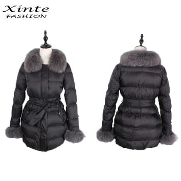 2016 Women Down Jackets Winter Coat Fur Hood Real Fox Fur Trim Detachable Hood Collar Parkas Gift