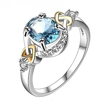 Alloy Engagement Ring Fashion Ring with Crystal Intricate Design Free Shipping
