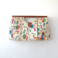 vintage 80s purse oversized clutch. abstract printed purse.