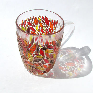 Autumn Leaves  Mug, Hand Painted Mug, Painted Coffee Mug, Custom Painted Coffee Mug, Leaves Design  Mug