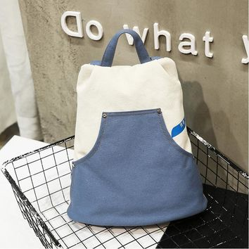 New Lady 's High Capacity Casual Canvas Backpack College Style Men & Women School Bag Female Denim Stitching Backpack Laptop Bag