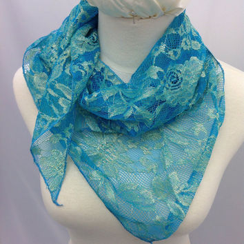 Shimmering Blue lace with Gold floral design scarf, Blue lace bandana, Fancy Blue lace cowl scarf, Blue shawl, Free shipping!