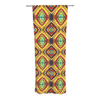 "Anne LaBrie ""Diamond Light"" Yellow Red Decorative Sheer Curtain"
