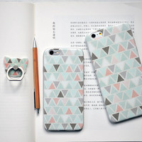 Color Triangle Mobile Phone Case For Iphone 7 5 5S Se 6 6S 6Plus 6S Plus + Mobile Phone Metal Ring Bracket+Book+Nice Gift Box