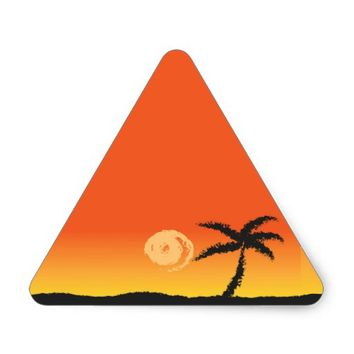 Island Sunset Triangle Sticker