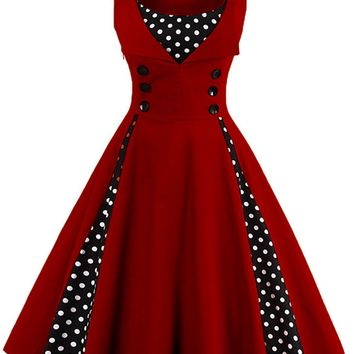 Atomic Wine Red and Black Polka Dot Pleated Swing Dress